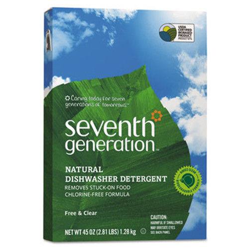 Seventh Generation Automatic Dishwasher Powder  Free and Clear  45oz Box  12 Carton (SEV 22150)