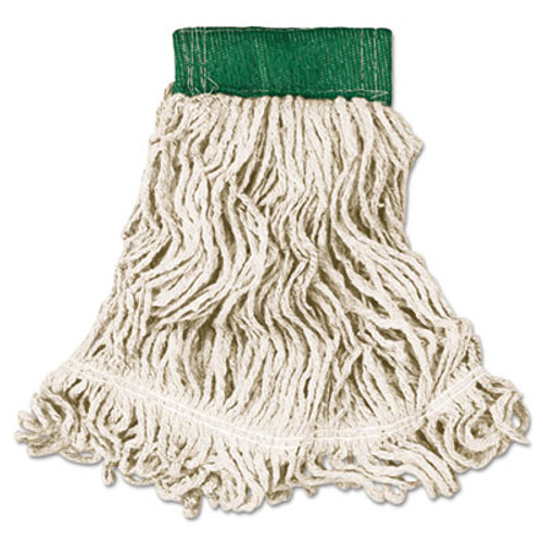 Rubbermaid Commercial Super Stitch Looped-End Wet Mop Head  Cotton Synthetic  Medium  Green White (RCP D252 WHI)