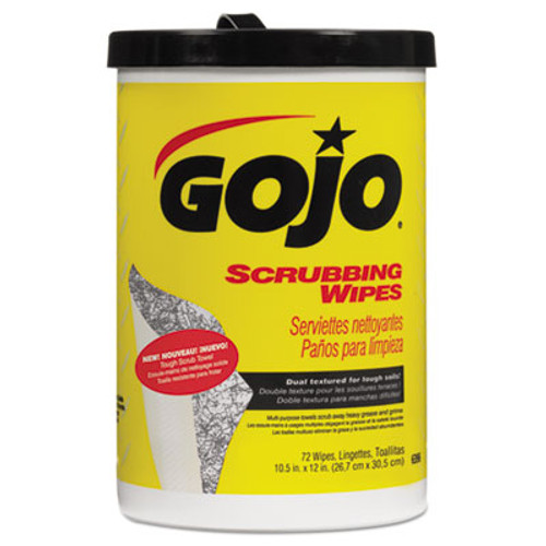 GOJO Scrubbing Towels, Hand Cleaning, Fresh Citrus,10 1/2x12 1/4, 72/Canister,6/Crtn (GOJ 6396-06)