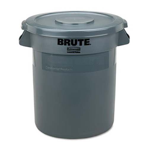 "Rubbermaid Commercial Round Flat Top Lid, for 10-Gallon Round Brute Containers, 16"", dia., Gray (RCP 2609 GRA)"