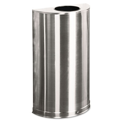 Rubbermaid Commercial European and Metallic Open Top Receptacle  Half-Round  12 gal  Satin Stainless (RCP SO12-SSSPL)