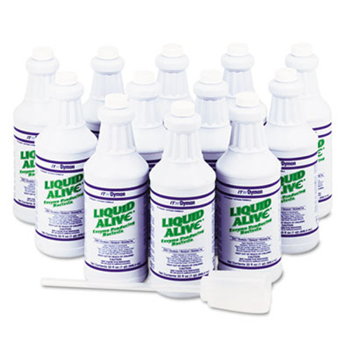Dymon LIQUID ALIVE Enzyme Producing Bacteria, 32 oz. Bottle, 12/Carton (DYM 23332)