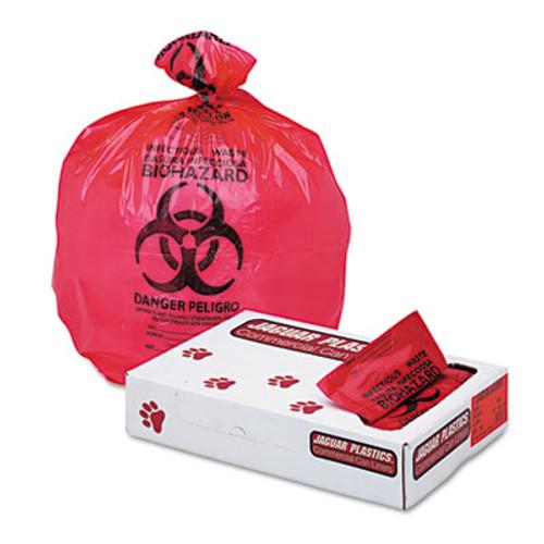 Jaguar Plastics Health Care Trash Can Liners  33 gal  1 3 mil  33  x 39   Red  150 Carton (JAG IW3339R)