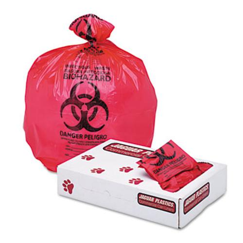 Jaguar Plastics Health Care Trash Can Liners  16 gal  1 3 mil  24  x 32   Red  250 Carton (JAG IW2432R)