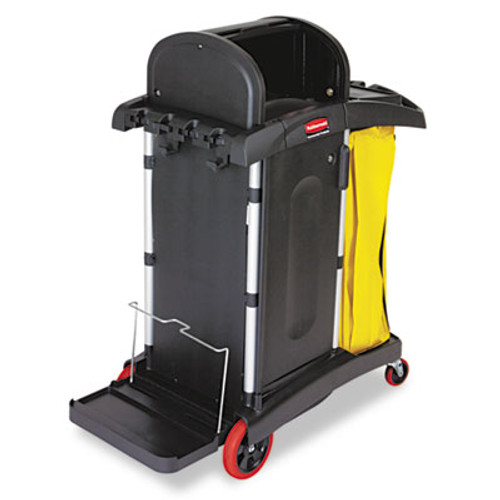 Rubbermaid Commercial High-Security Healthcare Cleaning Cart  22w x 48 25d x 53 5h  Black (RCP 9T75)