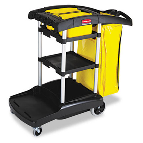 Rubbermaid Commercial High Capacity Cleaning Cart  21 75w x 49 75d x 38 38h  Black (RCP 9T72)