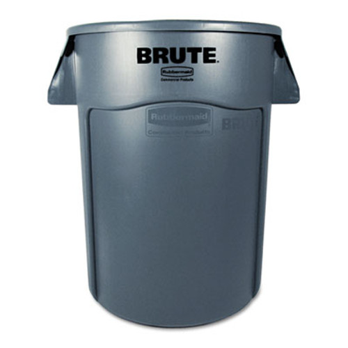 Rubbermaid Commercial Brute Vented Trash Receptacle, Round, 44 gal, Gray (RCP 2643-60 GRA)