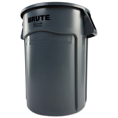 Rubbermaid Commercial Brute Vented Trash Receptacle  Round  44 gal  Gray (RCP 2643-60 GRA)