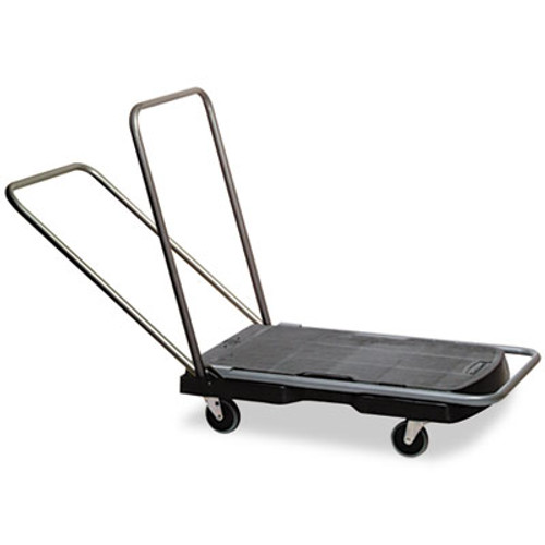 Rubbermaid Commercial Utility-Duty Home Office Cart  250 lb Capacity  20 5 x 32 5  Platform  Black (RCP 4400 BLA)