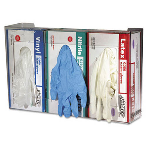 San Jamar Clear Plexiglas Disposable Glove Dispenser  Three-Box  18w x 3 3 4d x 10h (SAN G0805)