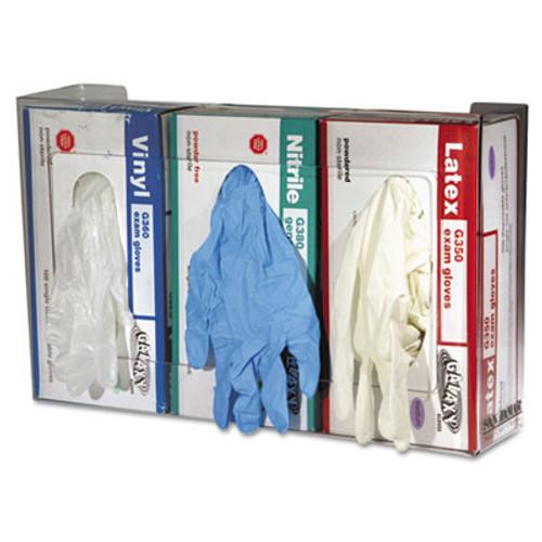 San Jamar Clear Plexiglas Disposable Glove Dispenser  Three-Box  18w x 3 3 4d x 10h (SAN G0805)