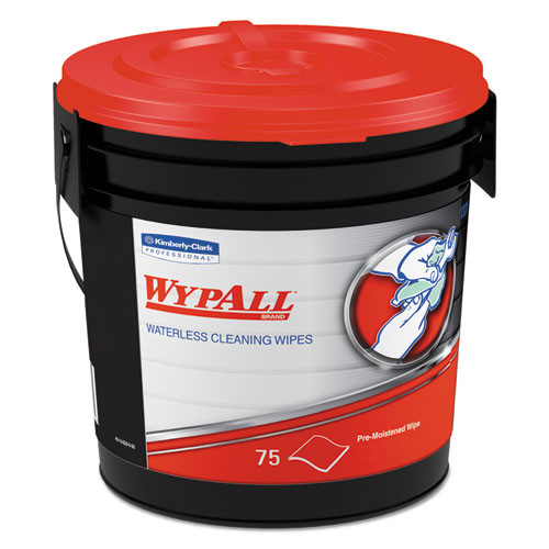 WypAll Waterless Hand Wipes  Cloth  9 x 12  75 Bucket  6 Buckets Carton (KCC 91371)