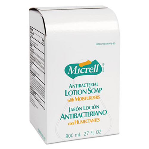 GOJO MICRELL Antibacterial Lotion Soap Refill, Liquid, Light Scent, 800mL, 12/Carton (GOJ 9757-12)