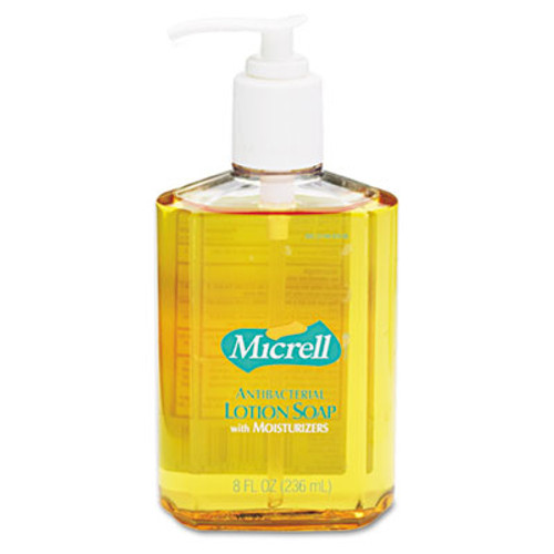 GOJO MICRELL Antibacterial Lotion Soap, Light Scent, 8oz Pump, 12/Carton (GOJ 9752)
