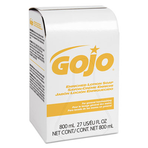 GOJO Enriched Lotion Soap Bag-in-Box Refill, Herbal Floral, 800mL, 12/Carton (GOJ 9102-12)