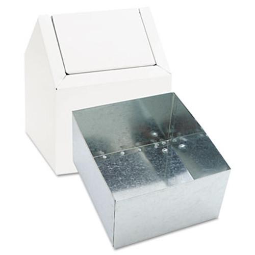HOSPECO Double Entry  Swing Top Floor Receptacle  Metal  White (HOS 2201)