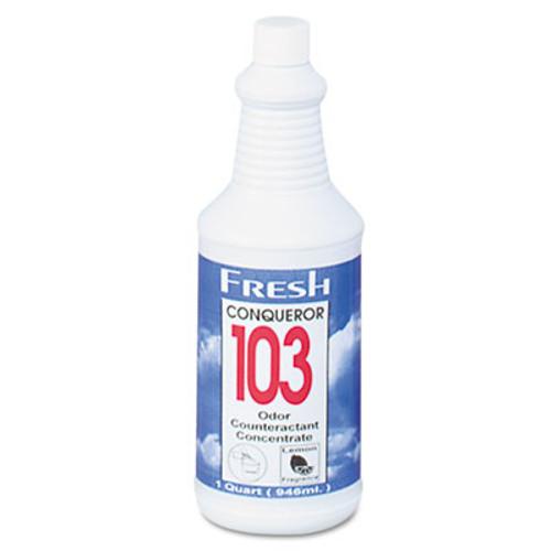 Fresh Products Conqueror 103 Odor Counteractant Concentrate  Lemon  32 oz Bottle  12 Carton (FRS 12-32WB-LE)
