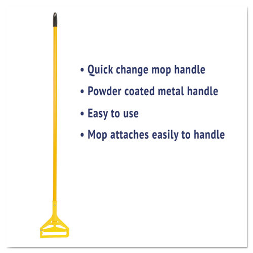 Boardwalk Quick Change Side-Latch Plastic Mop Head Handle  60  Aluminum Handle  Yellow (UNS 620)