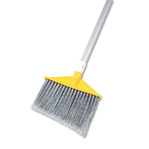 Rubbermaid Commercial Angled Large Brooms  Poly Bristles  48 7 8  Aluminum Handle  Silver Gray (RCP 6385 GRA)