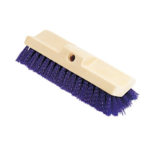 Rubbermaid Commercial Bi-Level Deck Scrub Brush  Polypropylene Fibers  10 Plastic Block  Tapered Hole (RCP 6337 BLU)