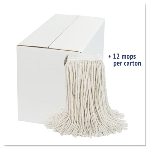 Boardwalk Cut-End Wet Mop Head  Cotton  White   20  12 Carton (UNS 2020C)