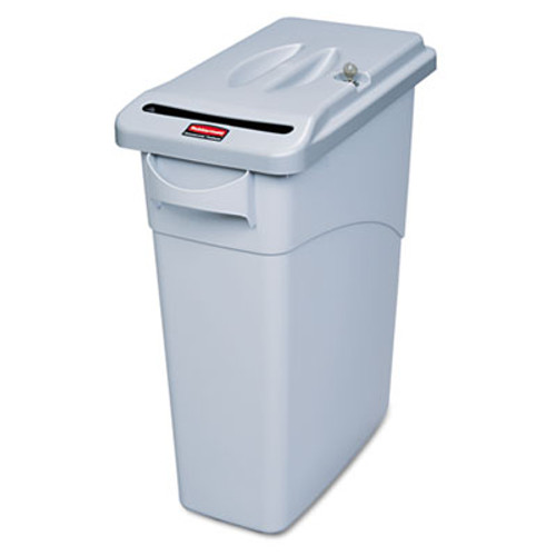 Rubbermaid Commercial Slim Jim Confidential Document Retrofit Lid Kit, 20 1/2 x 11 3/8 x 2 1/4, Gray (RCP 9W16 GRA)