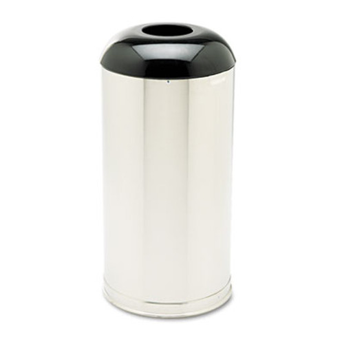 Rubbermaid Commercial European and Metallic Drop-In Dome Top Receptacle  Round  15 gal  Satin Stainless (RCP R32SSS)
