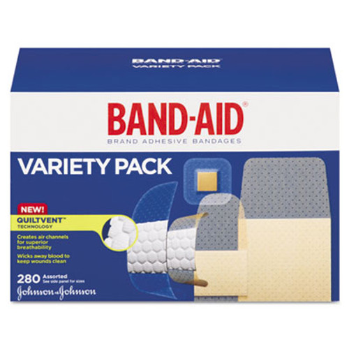 BAND-AID Sheer/Wet Adhesive Bandages, Assorted Sizes, 280/Box (JON 04711)