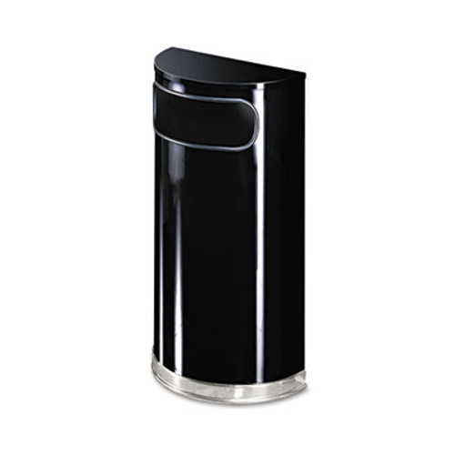 Rubbermaid Commercial European & Metallic Series Receptacle, Half-Round, 9gal, Black/Chrome (RCP SO8-20PLBK)