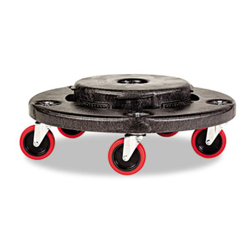 Rubbermaid Commercial Brute Quiet Dolly  250 lb Capacity  18 25 dia  x 6 63h  Black (RCP 2640-43 BLA)