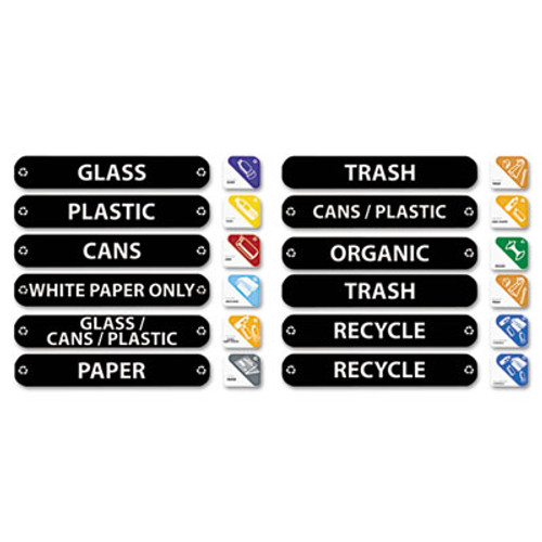 Rubbermaid Commercial Recycle Label Kit, 44 Labels in Three Languages, 8 x 1-1/2 (RCP 1792975)