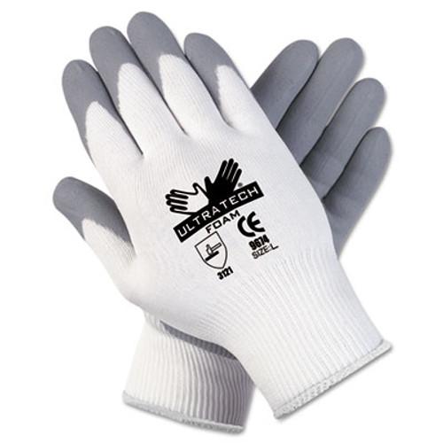 MCR Safety Ultra Tech Foam Seamless Nylon Knit Gloves  X-Large  White Gray  Dozen (MCR 9674XL)