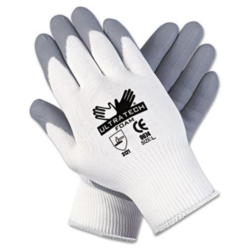 MCR Safety Ultra Tech Foam Seamless Nylon Knit Gloves  Large  White Gray  12 Pair Dozen (MCR 9674L)