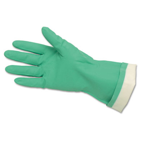MCR Safety Flock-Lined Nitrile Gloves  One Size  Green  12 Pairs (MCR 5319E)