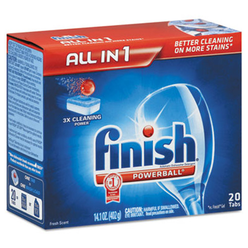 FINISH Powerball Dishwasher Tabs, Fresh Scent, 20/Box (RAC77050)
