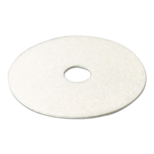 3M Super Polish Floor Pad 4100  13  Diameter  White  5 Carton (MCO 08477)