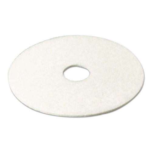 3M Super Polish Floor Pad 4100  13  Diameter  White  5 Carton (MCO 08477)