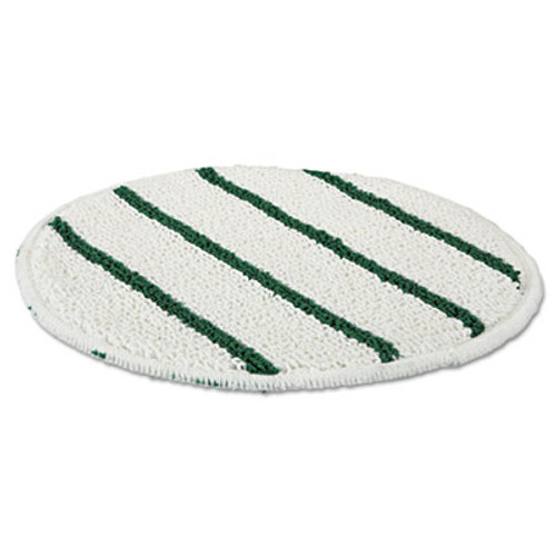 "Rubbermaid Commercial Low Profile Scrub-Strip Carpet Bonnet, 19"" dia. Pads, White/Green, 5/Carton (RCP P269)"