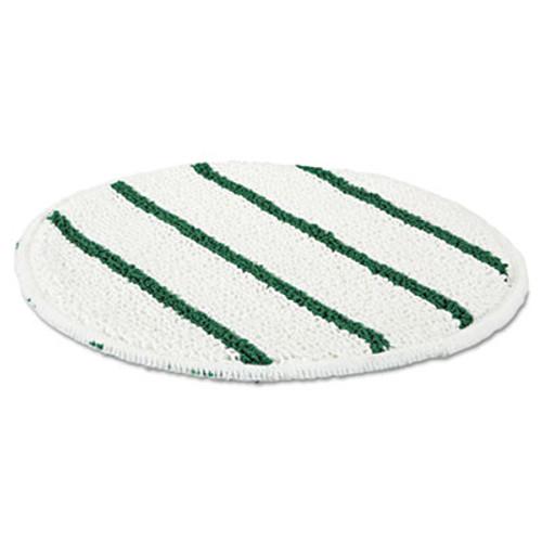 Rubbermaid Commercial Low Profile Scrub-Strip Carpet Bonnet  21  Diameter  White Green (RCP P271)