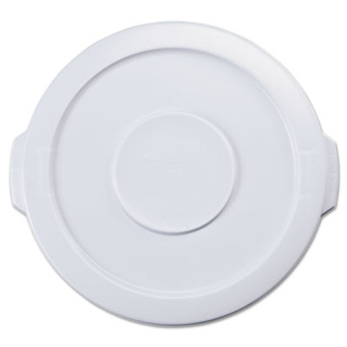 """Rubbermaid Commercial Flat Top Lid for 10-Gallon Round Brute Containers, 16"""" dia., White (RCP 2609 WHI)"""
