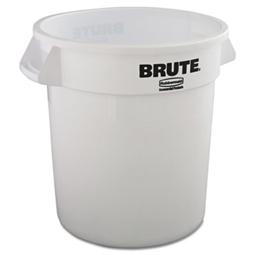Rubbermaid Commercial Round Brute Container, Plastic, 10 gal, White (RCP 2610 WHI)