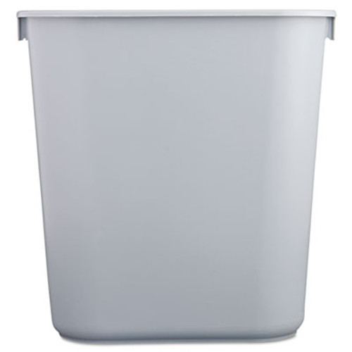 Rubbermaid Commercial Deskside Plastic Wastebasket, Rectangular, 3 1/2 gal, Gray (RCP 2955 GRA)