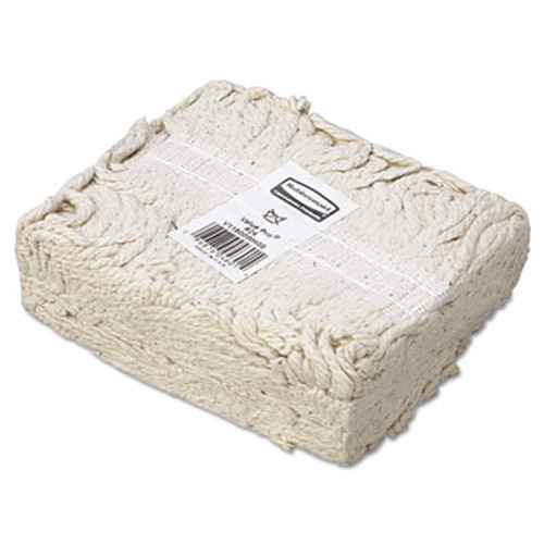 Rubbermaid Commercial Economy Cut-End Cotton Wet Mop Head  24oz  1  Band  White  12 Carton (RCP V118)