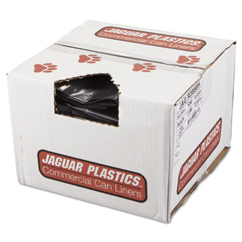 Jaguar Plastics Repro Low-Density Can Liners  60 gal  1 5 mil  38  x 58   Black  100 Carton (JAG R3858H)