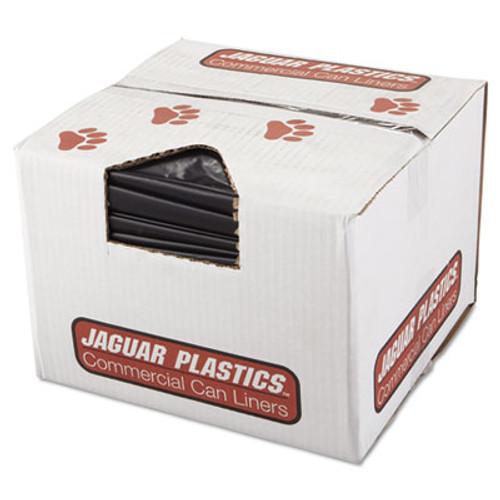 Jaguar Plastics Repro Low-Density Can Liners  60 gal  2 mil  38  x 58   Black  100 Carton (JAG R3858HH)