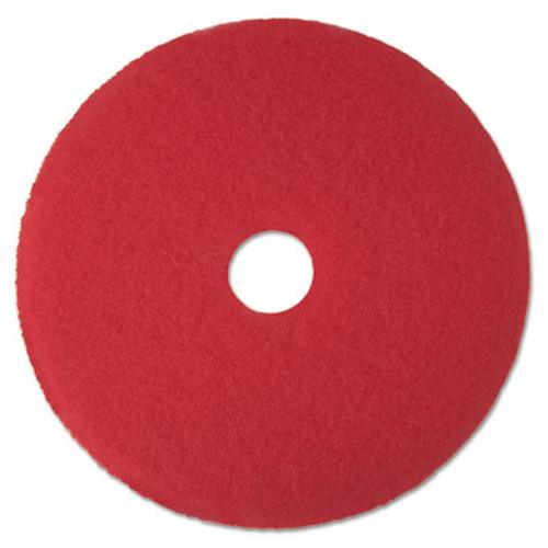 "3M Red Buffer Floor Pads 5100, Low-Speed, 12"", 5/Carton (MCO 08387)"