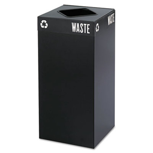 Safco Public Square Trash Container  Square  Steel  31 gal  Black (SAF2982BL)