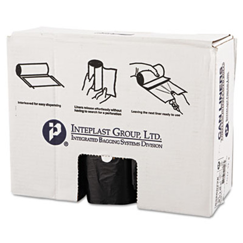 Inteplast Group High-Density Commercial Can Liners  60 gal  22 microns  38  x 60   Black  150 Carton (IBS S386022K)