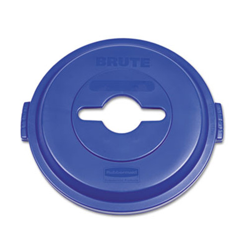 Rubbermaid Commercial Single Stream Recycling Top for Brute 32gal Containers, Blue (RCP 1788380)