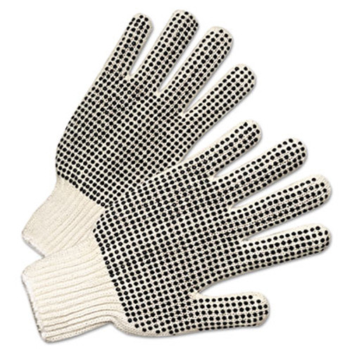 Anchor Brand PVC-Dotted String Knit Gloves  Natural White Black  Large  12 Pairs (ANR6705)